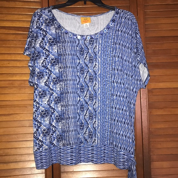 NWOT blue and white beaded blouse
